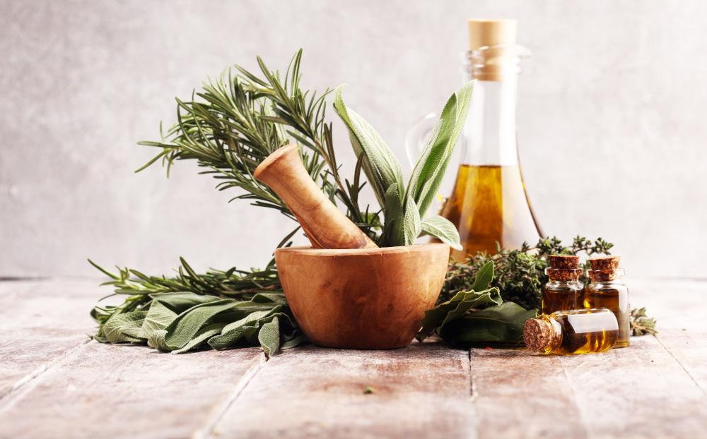 świeże przyprawy i olej